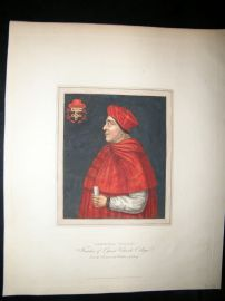Ackermann History of Oxford 1815 Hand Col Portrait. Cardinal Wolsey